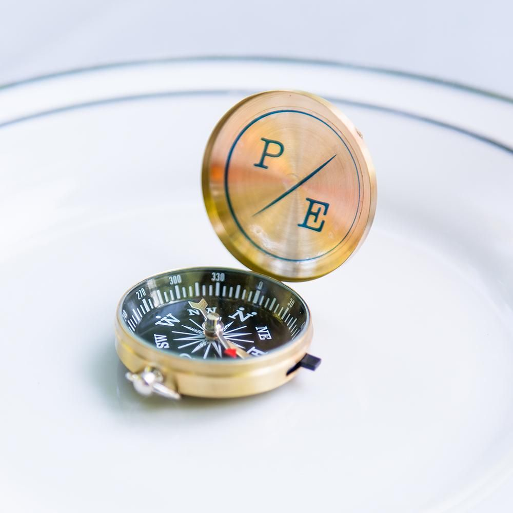 Gold Compass Wedding Favor Gold set of 24 with Personalization ...