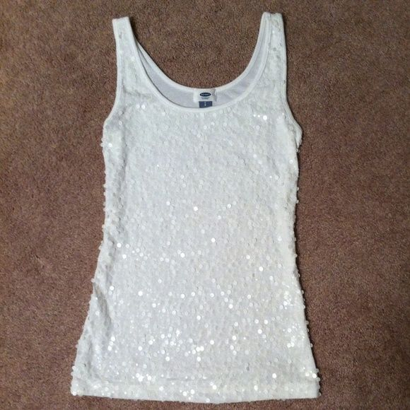 Old Navy White Sequined Tank Top Only worn once! Excellent condition! Old Navy Tops Tank Tops
