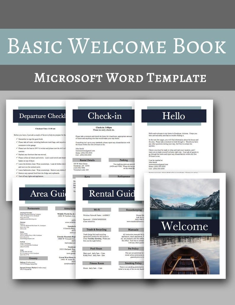 Basic Welcome Book Vacation Home Welcome Book Template Ms Etsy