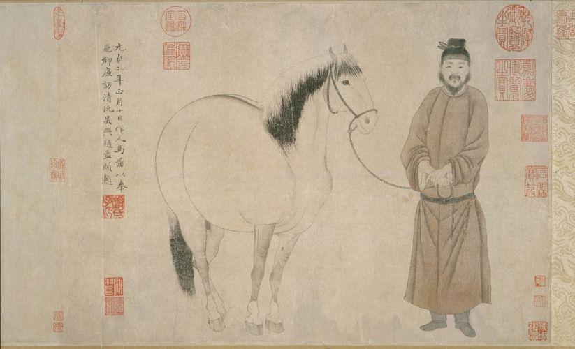 """""""Hombre y caballo"""" 人馬圖, Zhao Mengfu 趙孟頫, Dinastía Yuan 元朝 (1271-1368). Tinta sobre papel. Museo Metropolitano de Arte, Nueva York"""