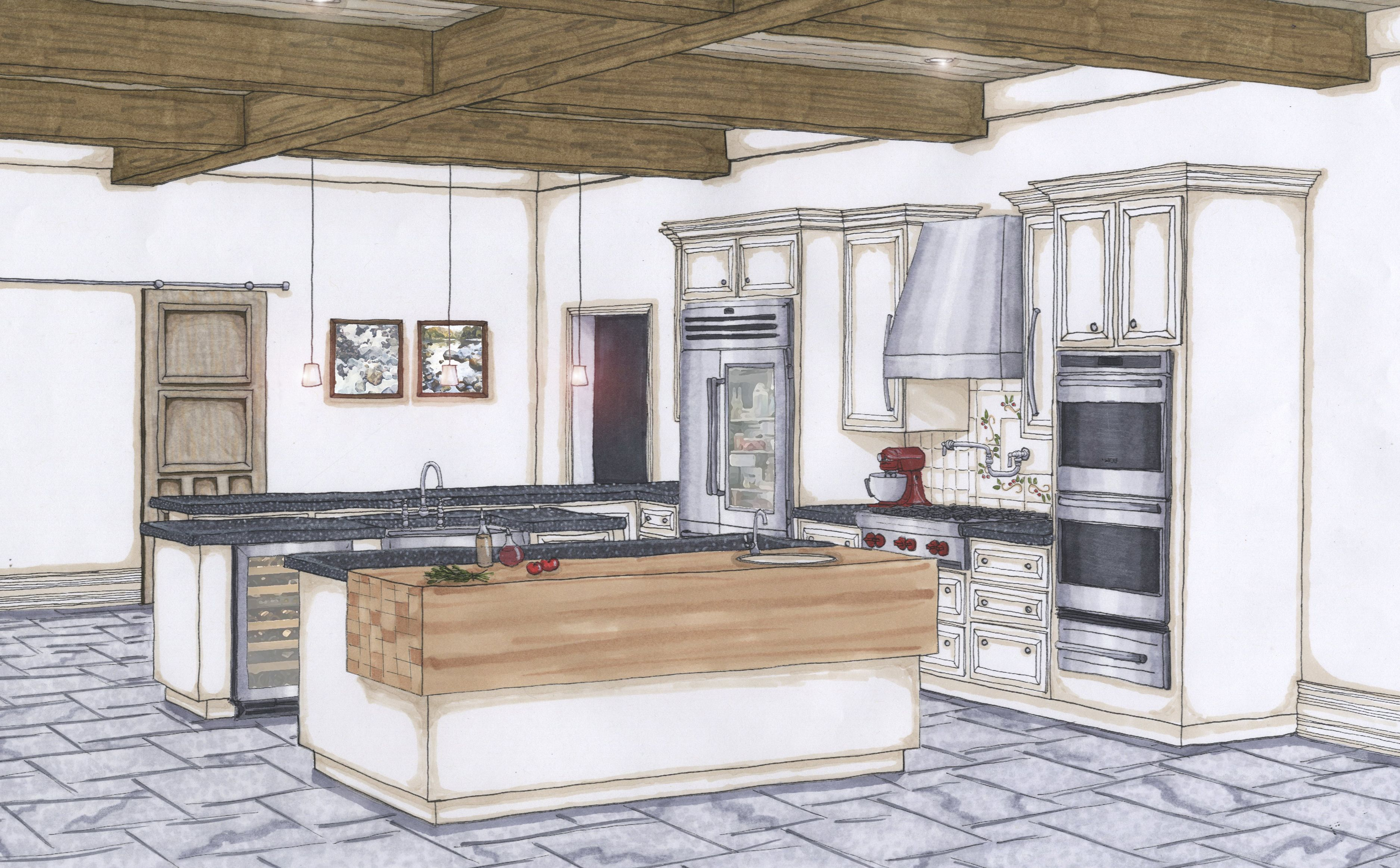 Candice Olson Renderings Final Kitchen Color Perspective