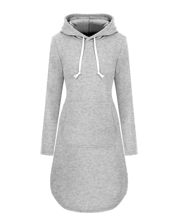 Women S Long Sleeve Pullover Sweatshirt Knee Length Pocket Causal Hoodie Dress Grey C1187kc5wr8 Hoodie Dress Long Sleeve Pullover Maxi Dress Outfit Fall [ 1500 x 1200 Pixel ]