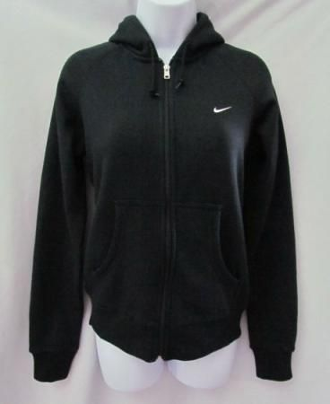 61a823fe22ec NIKE New Black Classic Brushed Fleece Zip Up Hoodie Sweatshirt ...