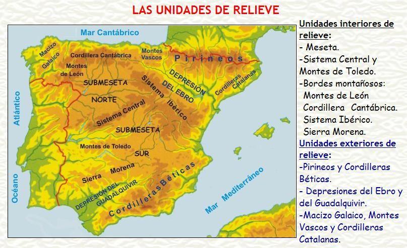Mapa Relieve De España Para Niños.Mapa Relieve De Espana Buscar Con Google Geografia