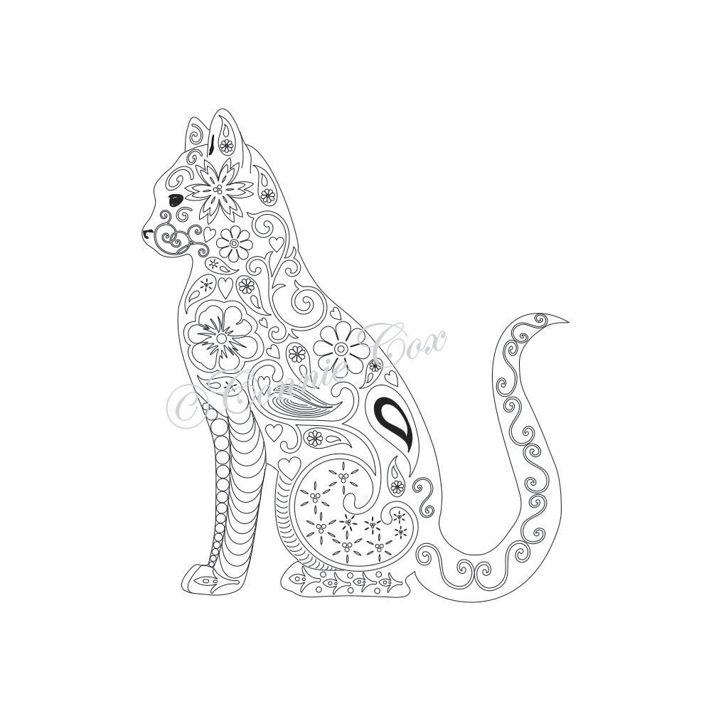 Cat kitten adult coloring page instant pdf digital