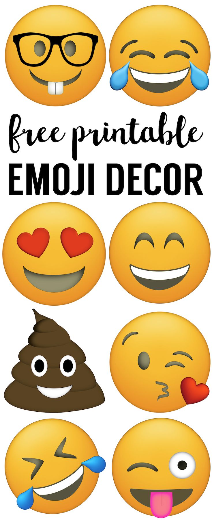 Emoji Faces Printable Free Emoji Printables Paper Trail Design Emoji Party Decorations Emoji Birthday Party Emoji Party