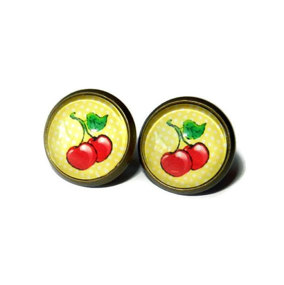 Red and Yellow Post Earrings Brass Plated by CloudNineDesignz, $12.00