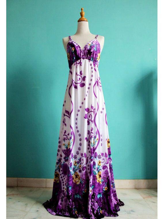 Sexy Long Maxi Dress Evening Dress Summer Women Sundress Purple Bridesmaid Dress. $38.00, via Etsy.