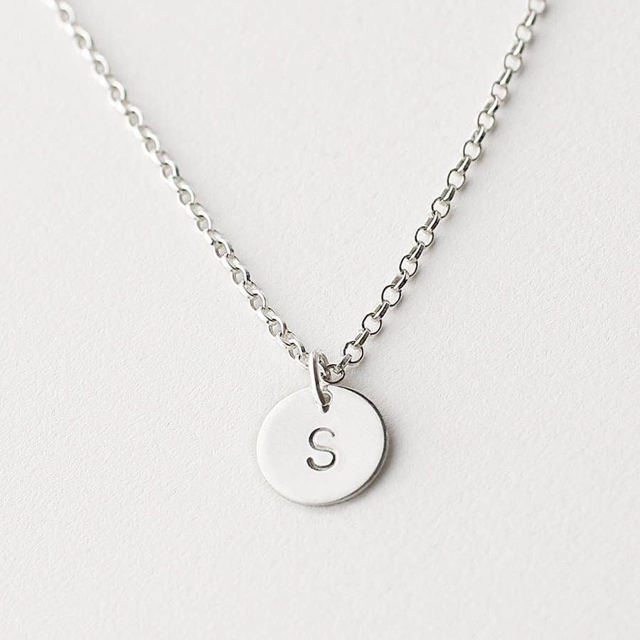 Personalised initial disc necklace aloadofball Choice Image