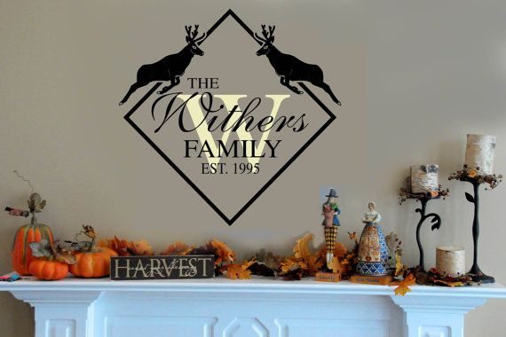 Family Last Name Deer Wall Decal Personalized By Wallstory Wall - Advertize monogram wall decals