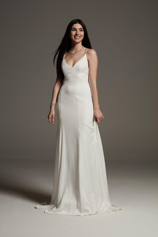 White by Vera Wang VNeck Crepe Satin Slip Dress David's