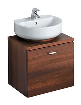 Ideal Standard Concept Sphere-Arc Wall Hung Basin Unit 55cm-Walnut, also available in grey gloss.
