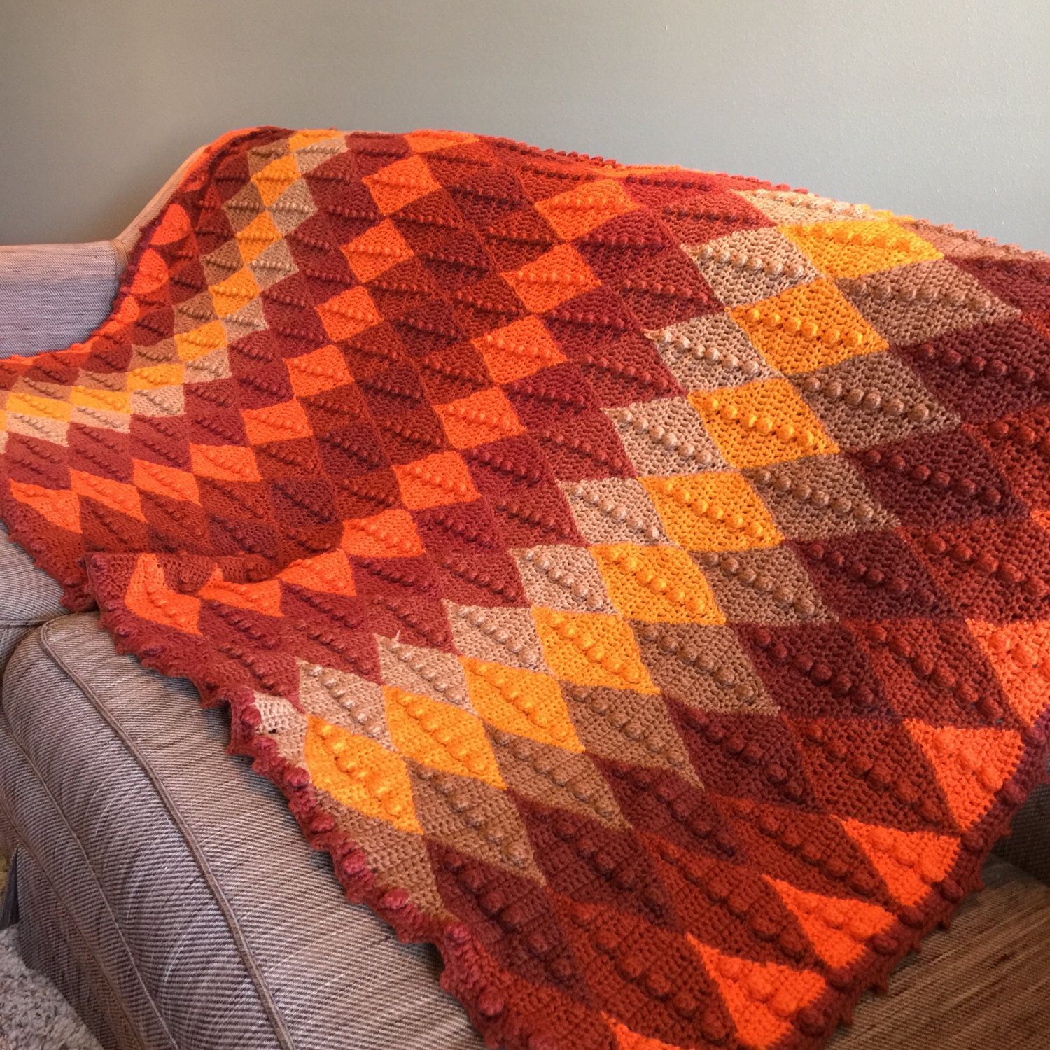 Fall Colors Afghan Crocheted Vintage Harlequin Diamond Pattern ...