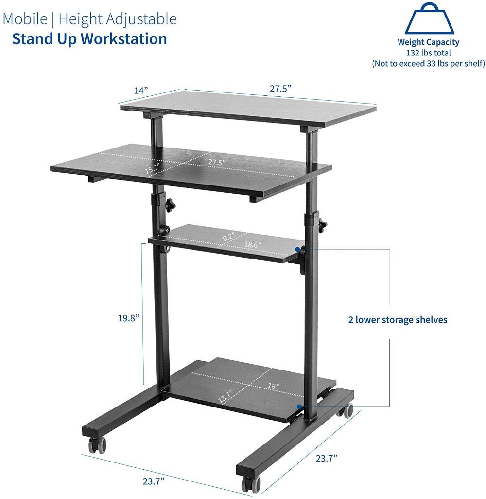 Amazonsmile Vivo Black Mobile Height Adjustable Table Stand Up