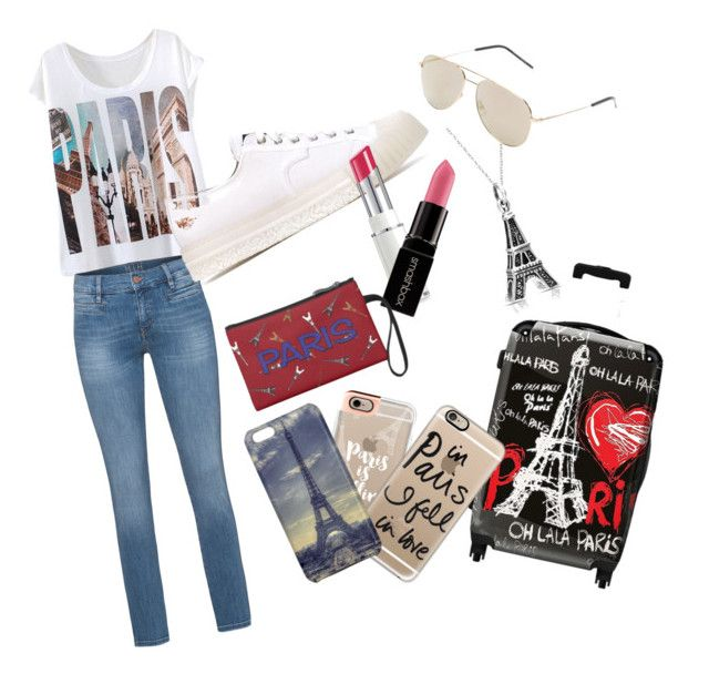 """""""Life in Paris"""" by averye05 ❤ liked on Polyvore featuring beauty, MiH Jeans, ADIEU, Bling Jewelry, Smashbox, IKASE, Casetify and Yves Saint Laurent"""