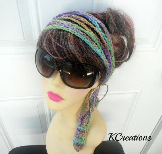 Crochet Headband Boho Headband Womens by knottycreationsbyET