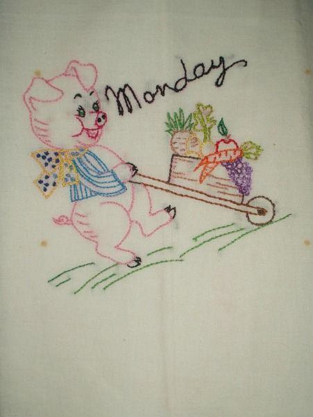 Vintage 1940s 1950s Day Of Week Embroidery Pig Dish Towels