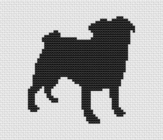 Pug Cross Stitch Pattern Silhouette Dog Pattern Easy Cross