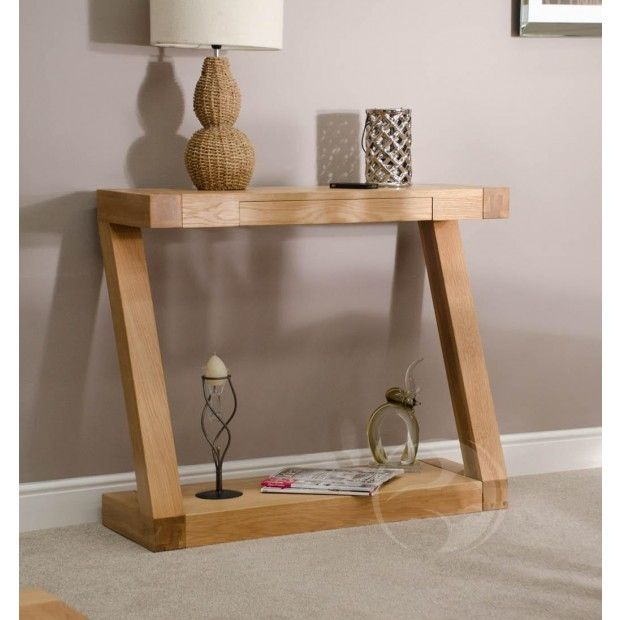 Z Shape Solid Oak Hall Console Table Hall console table Solid