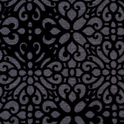 Gray Canvas with Black Cut Floral Velvet Fabric by the Yard | Mood Fabrics