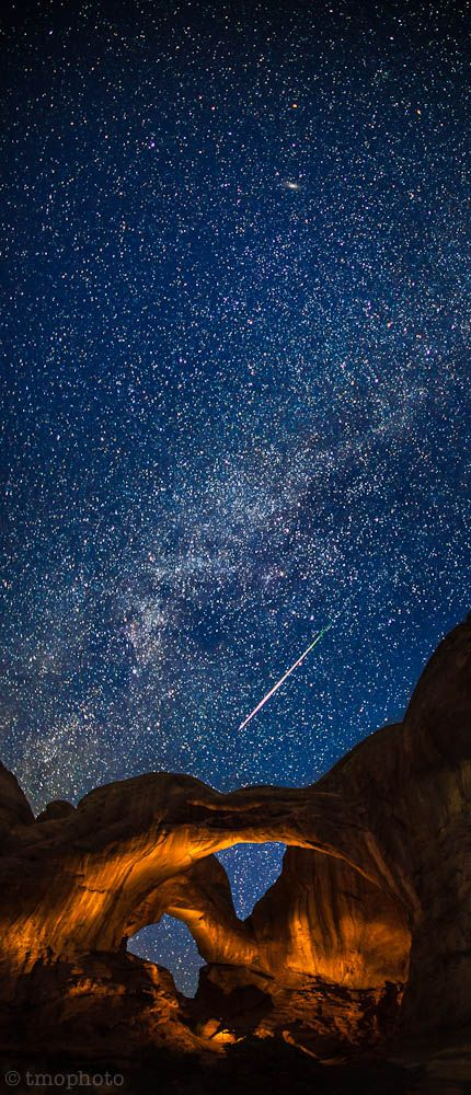 Perseid Meteor Streaking Over The Lightpainted Double Arch In Arches National Park National Parks Utah National Parks Nature