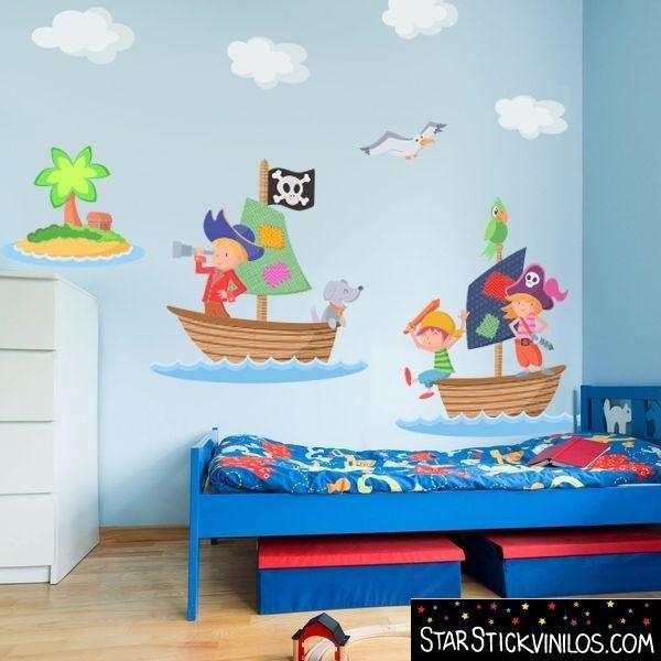 Murales Y Vinilos Para Habitaciones Infantiles.Vinilo Infantil Barquitas Piratas Vinilos Infantiles