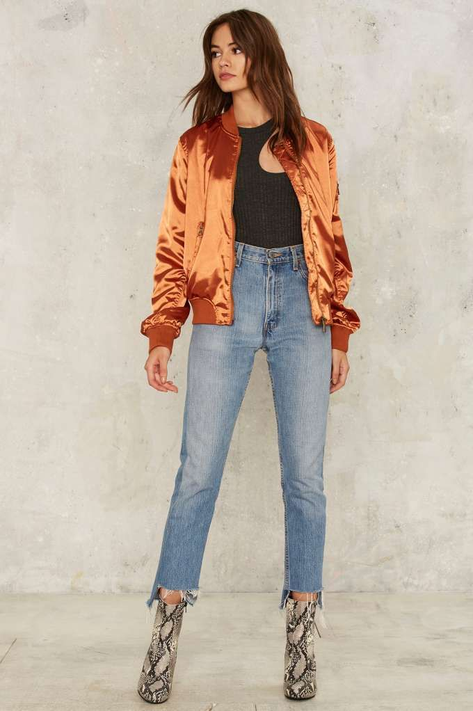 Let it Satin Bomber Jacket - Orange - Clothes | 30% Off Bombers | Bomber Jackets