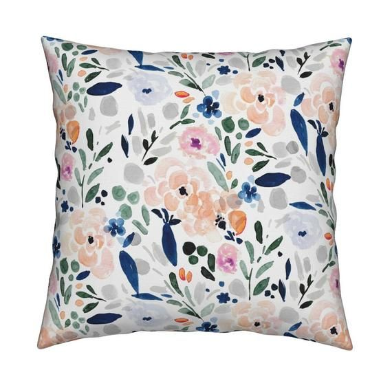 Pastel Floral Throw Pillow Sierra Floral With Gray By Etsy Floral Throw Pillows Throw Pillows Square Throw Pillow