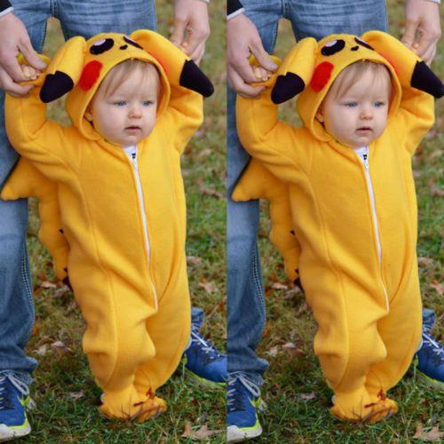 5bd78e98f5b5 Newborn-Infant-Baby-Girl-Boy-Pikachu-Rompers-Fleece-Jumpsuit-Playsuit- Outfits-UK