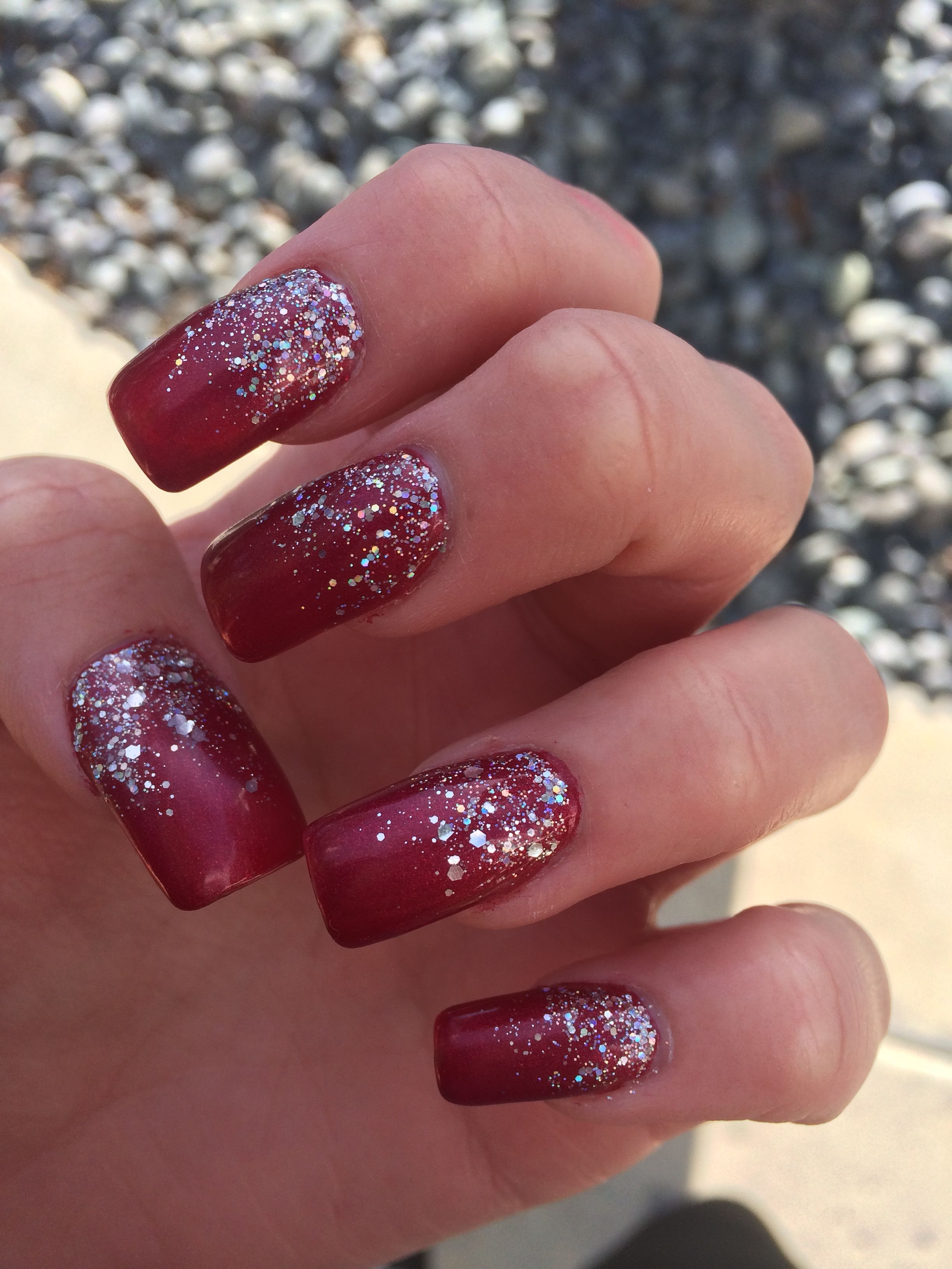 Deep Red Gel Acrylics With Sparkles Nails Acrylic Longnails Darkred Maroon Sparkly Glitter