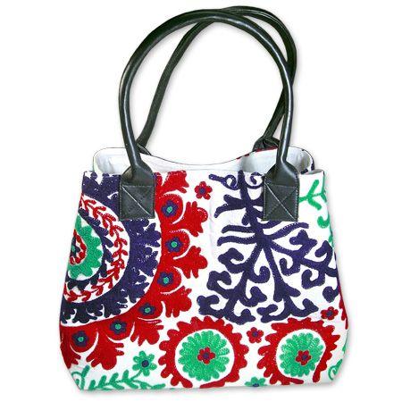 Ethnic Handbag of Uzbek handicraft with typical 'Suzani' embroidery