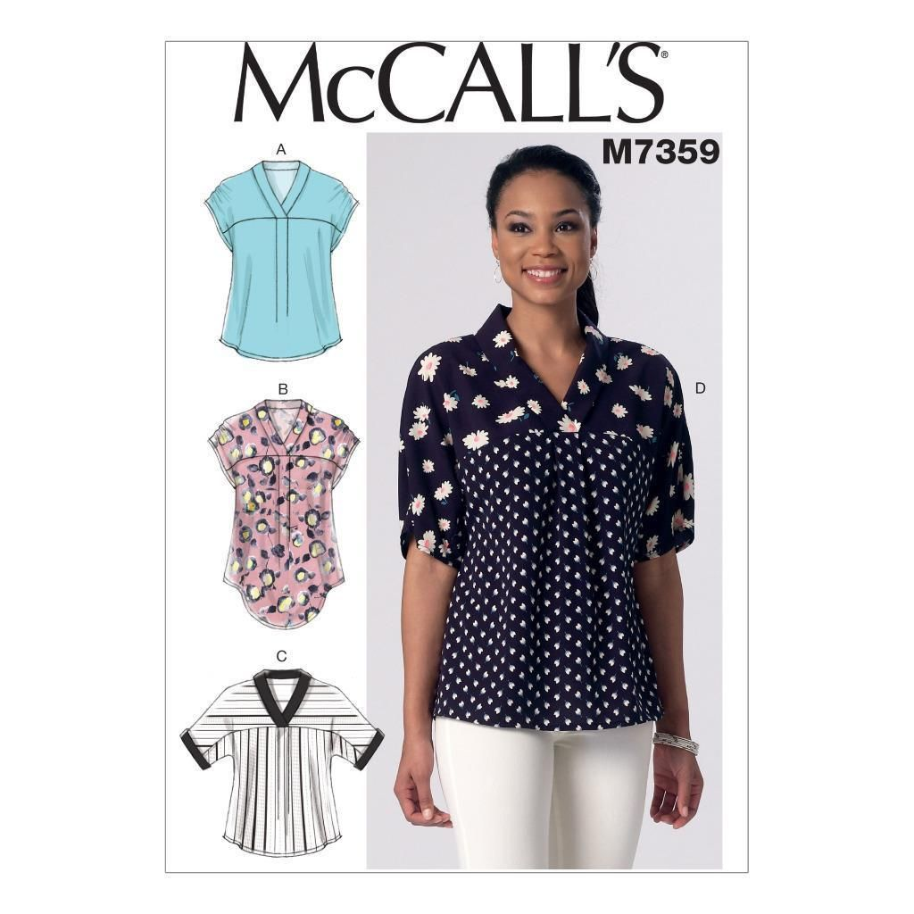 Mccall\'s Sewing Pattern Misses\' Pullover Tops Size Size Xsm - Xxl M7359
