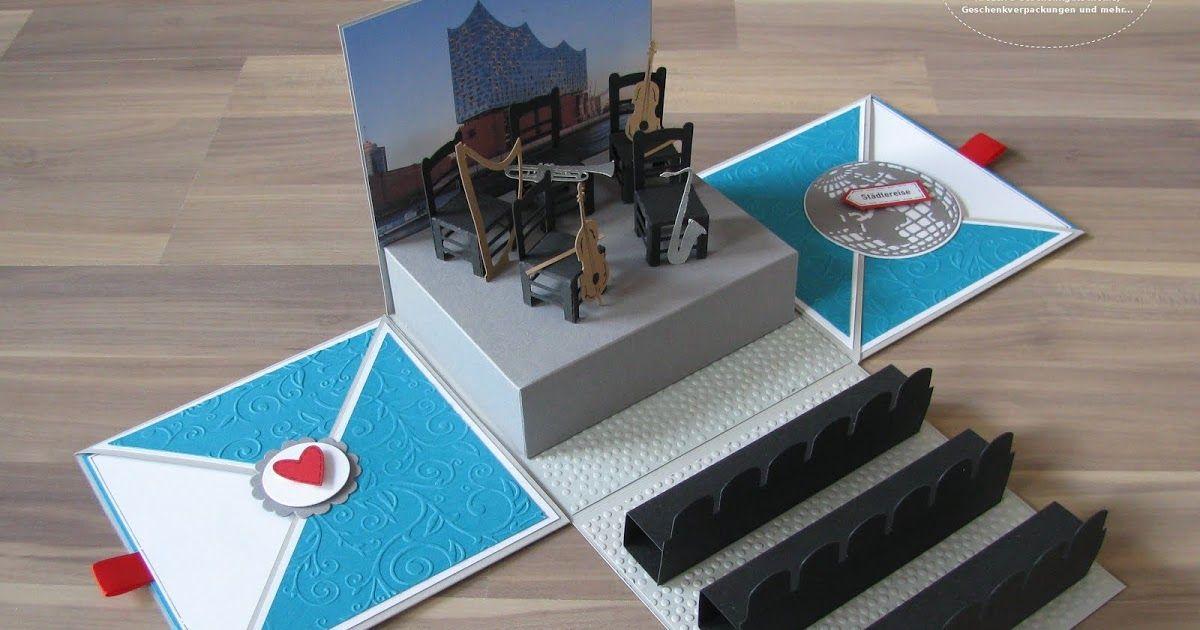 Geschenkbox Uberraschungsbox Explosionsbox Elbphilharmonie Hamburg Konzert Reise Reisegutschein Gutschei Bastelideen Geburtstag Geschenke Konzertkarte Geschenk