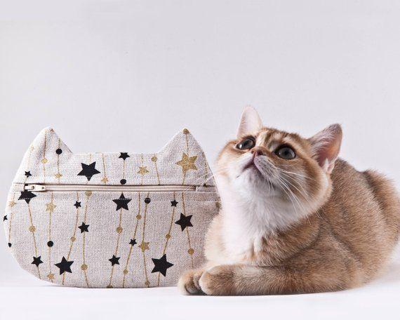 Cat Cosmetic Bag Stars Makeup