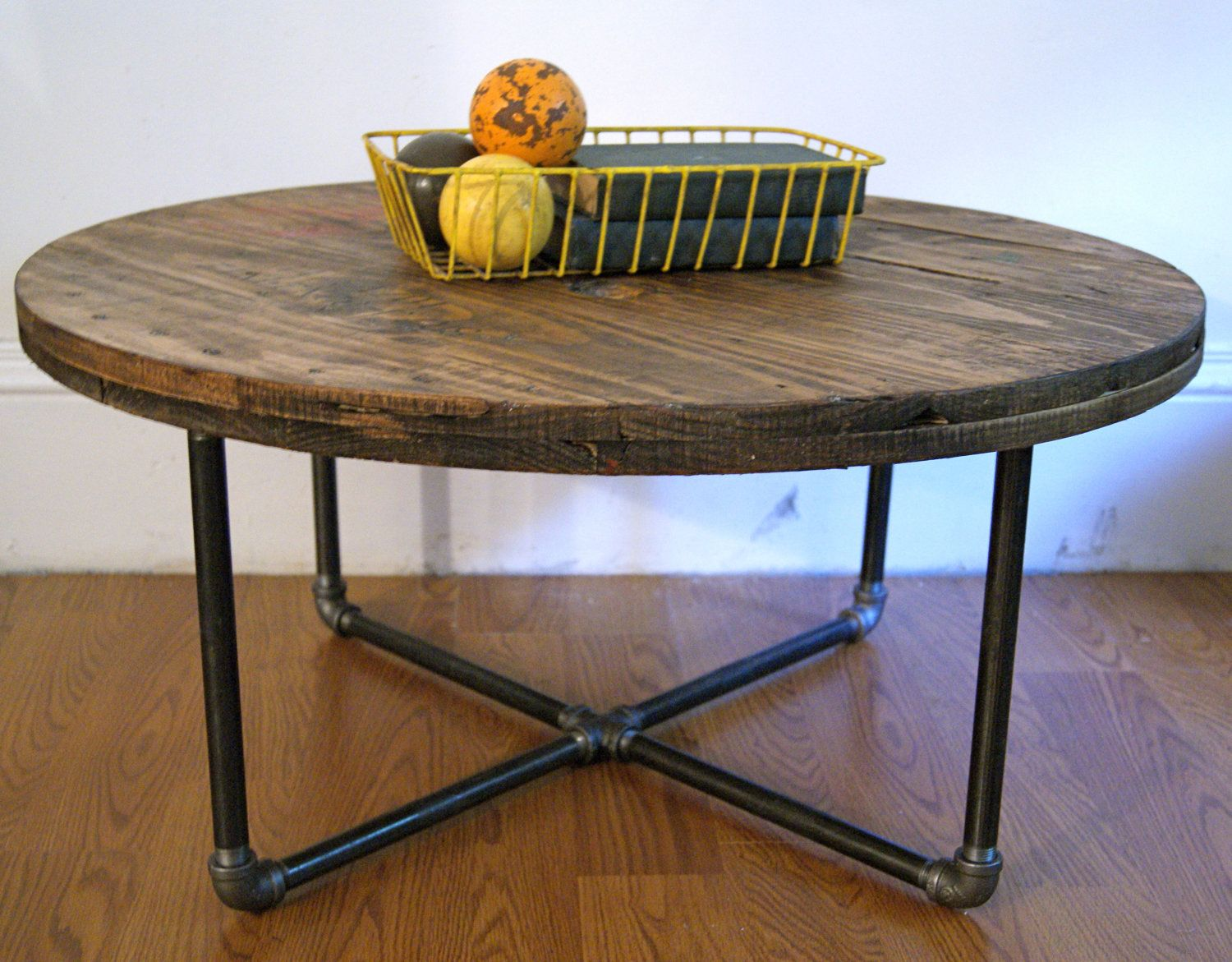 How to make a sofa table from cable wood reel - Round Reclaimed Salvaged Wood Spool Table With Steel Pipe Base Great Rustic Industrial Style Piece Keith Can Make