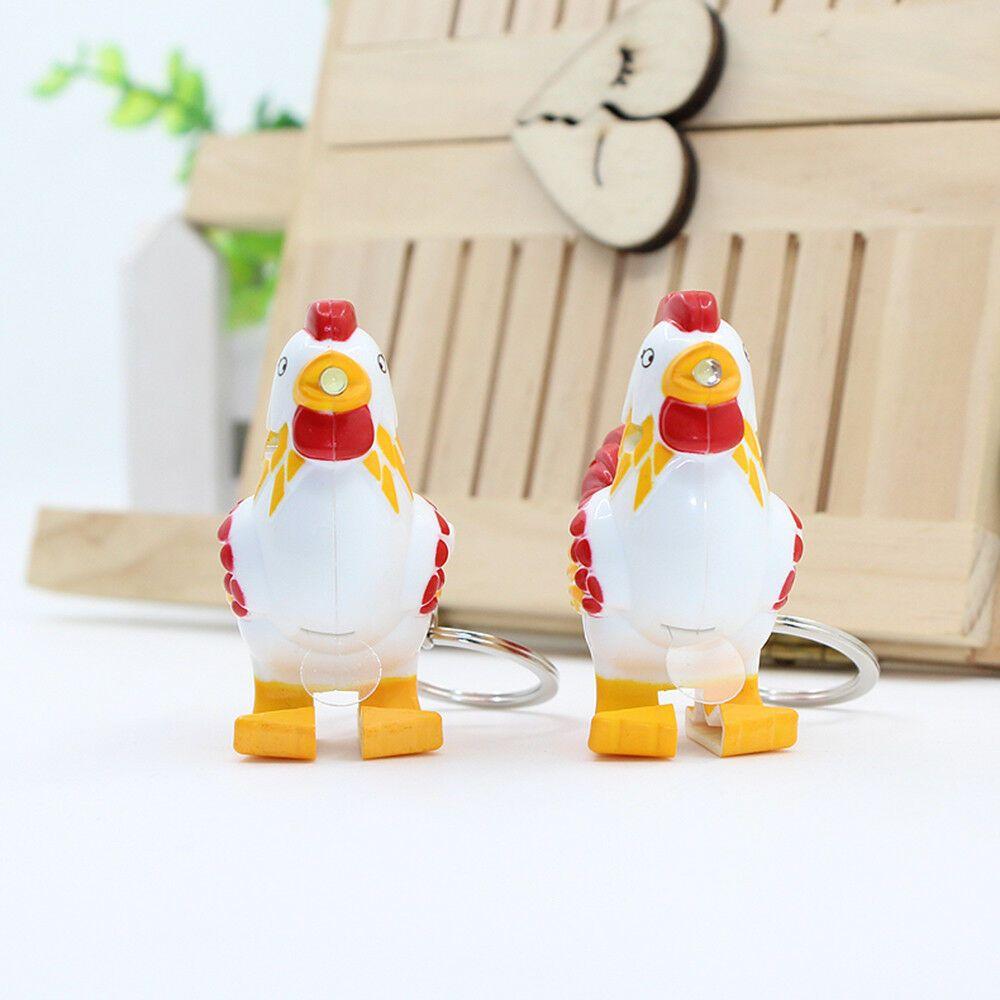 Funny Chicken LED Keychain with Sound Keyring Pendant Mini Flashlight Kids Toy