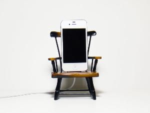 Wooden chair iPhone charger :D