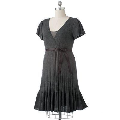Elle Sweater Surplice Dress At Kohls 5460 Plus Size Fashions