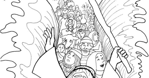Moses Parting the Red Sea Coloring Page Israelites Cross