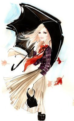 Gorgeous illustration (or is it watercolor?) - reminiscent of a fashion sketch. Love the movement and color.   art