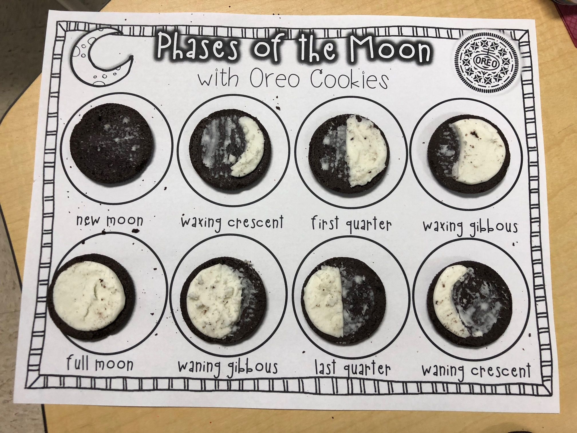 Oreo Phases Of The Moon Linden Grove School