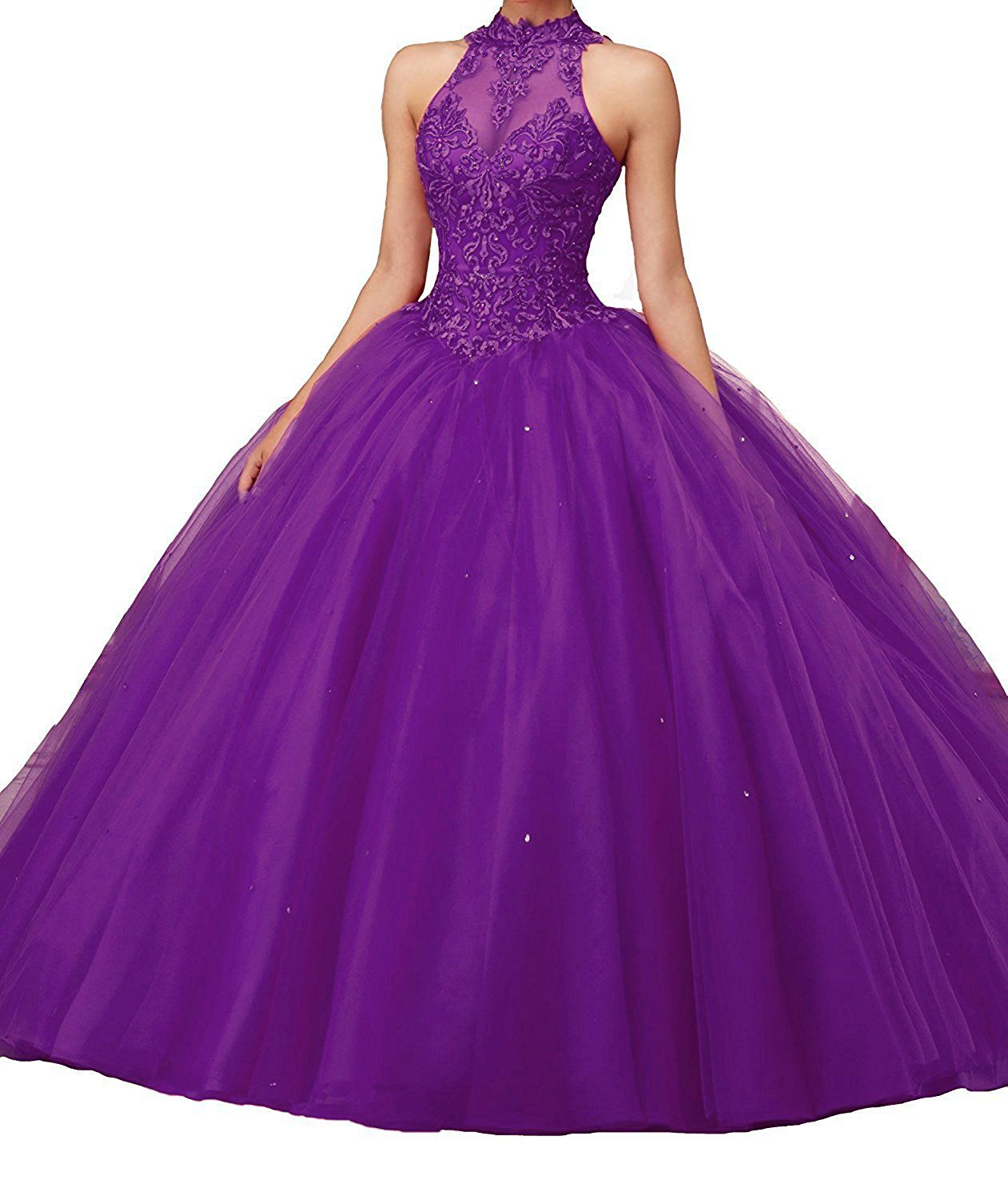 Lisa high neck puffy ombre prom dresses lace ball gown quinceanera