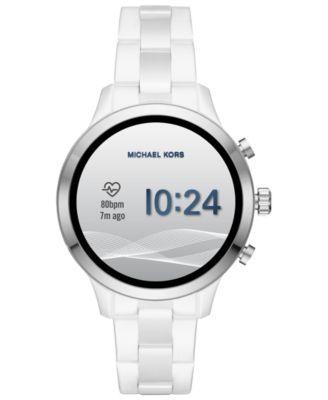4a87f0310c7f Michael Kors Access Unisex Runway White Ceramic Bracelet Touchscreen Smart  Watch 44mm - White