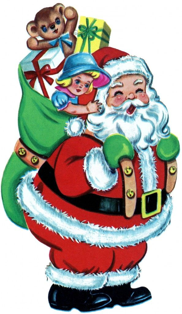 free christmas picture retro santa with toys the graphics fairy - Free Christmas Toys