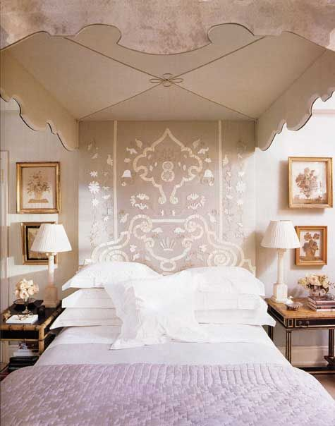 embroidered headboard of 1940's bed in NYC apartment of Bunny Williams