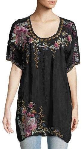 Alyssa Floral-Embroidered Long Georgette Tunic, Plus Size in ...