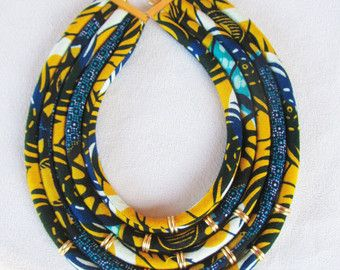 Ethnic tribal necklace/ statement jewelry/ fabric by nad205