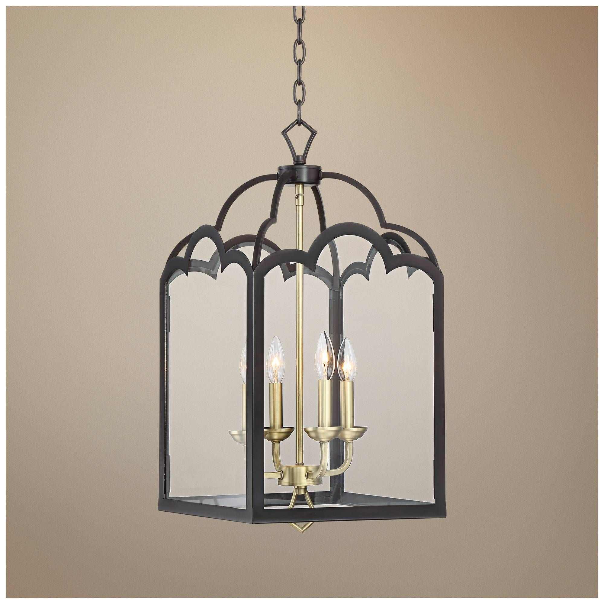 """Natalia 13 1 2""""W Antique Brass and Bronze Entry Chandelier Style"""