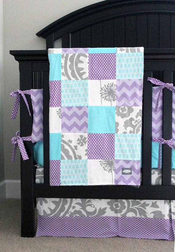 reserved for lindsay lavender crib bedding baby girl bedding set aqua grey and purple baby bedding
