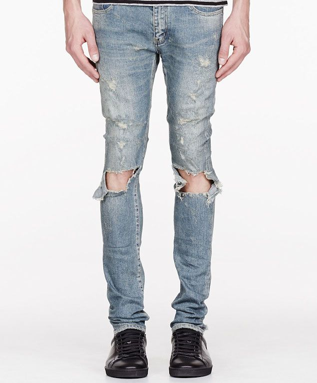 713d13aa0ec Saint Laurent, Faded Distressed/Destroyed Denim Jeans (Blue) | Pants ...